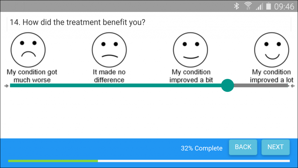 Measuring outcomes on a mobile via patient friendly graphics